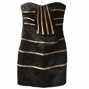 BCBGeneration black and gold strapless mini dress